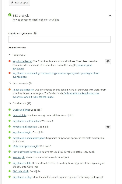 Screengrab of Yoast metabox: SEO analysis