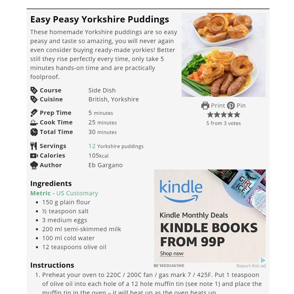 Easy Peasy Foodie Yorkshire Puddings Screengrab
