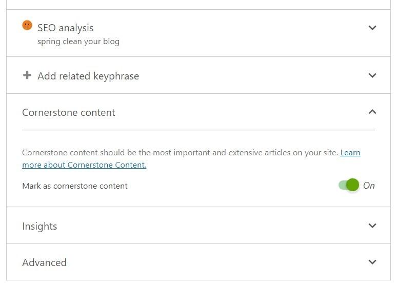 Cornerstone Content toggle in Yoast metabox