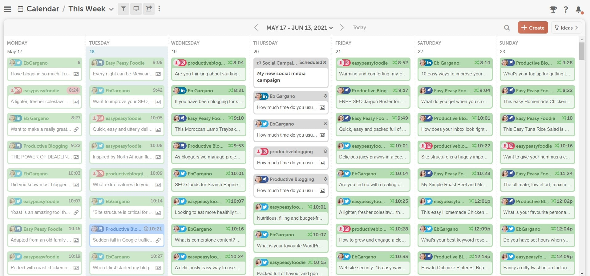 Screengrab of 4 social media messages all scheduled in the CoSchedule Marketing Calendar