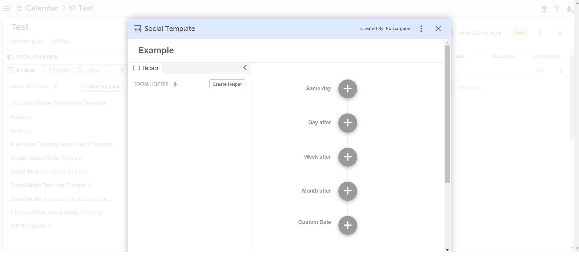 Screengrab of CoSchedule social media template