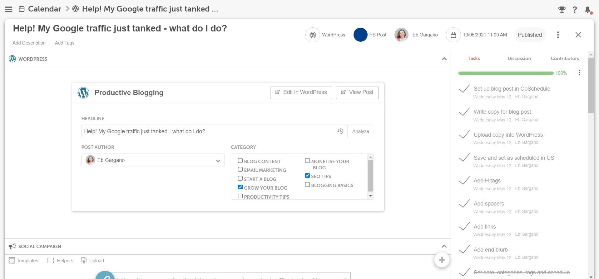 Screengrab of task template showing regular blogging tasks