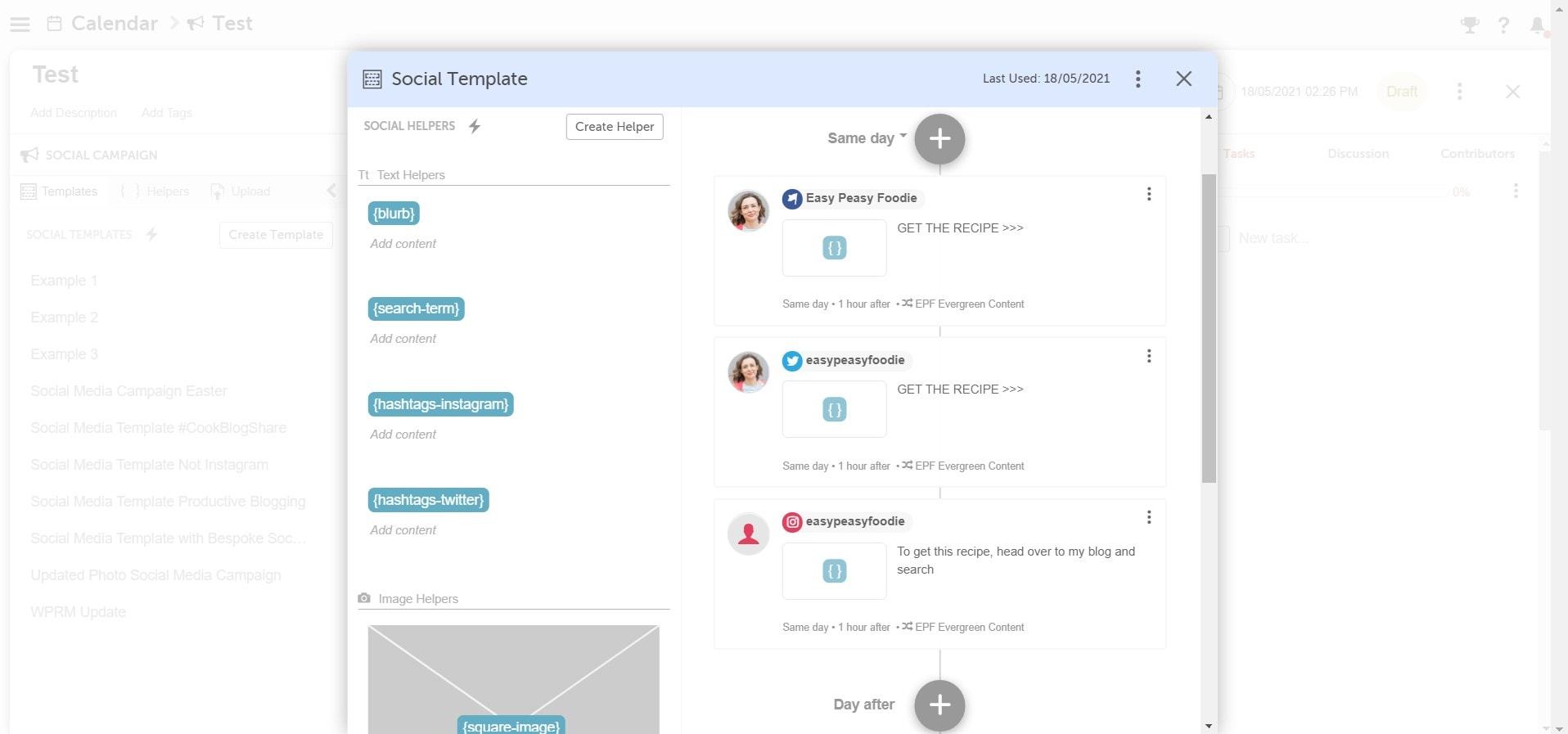 Screengrab CoSchedule Bespoke Social Helpers