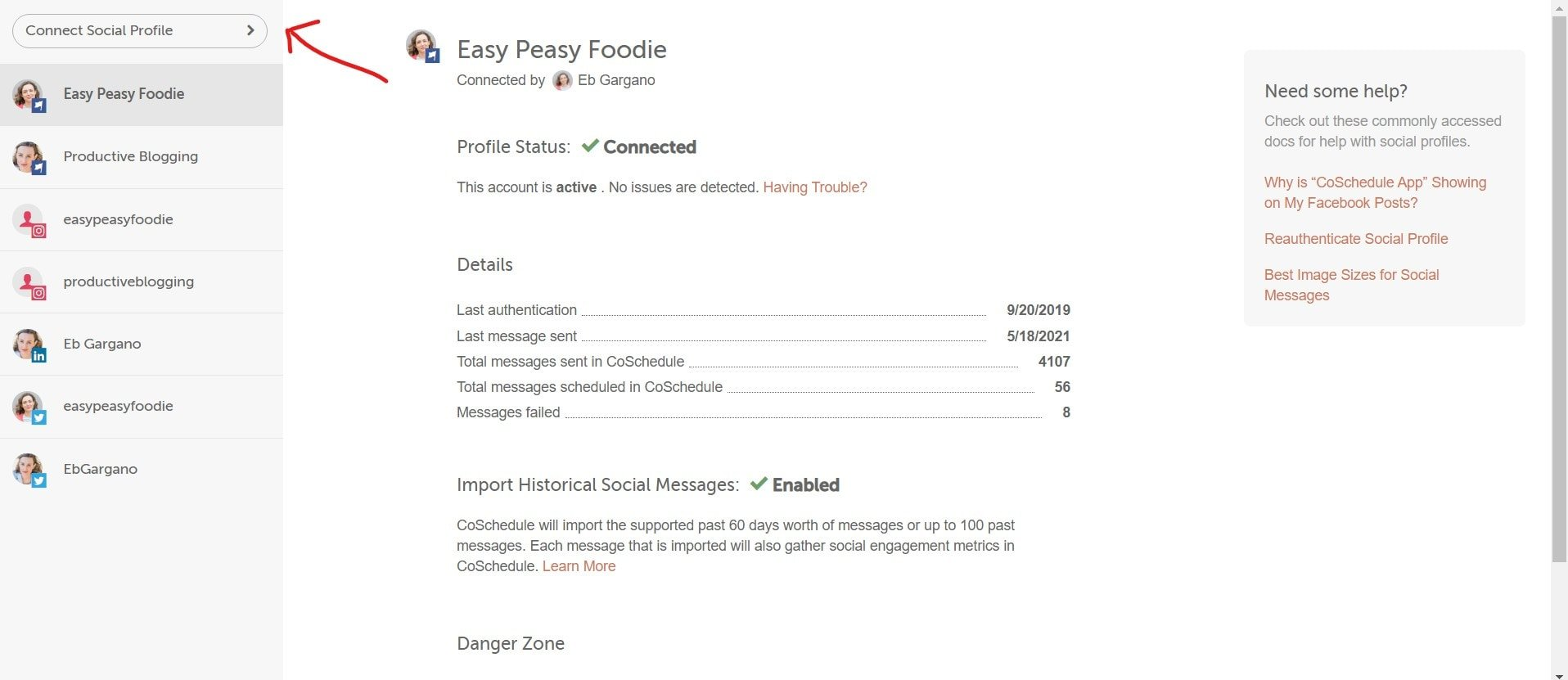 Screengrab showing how to connect social profiles in CoSchedule