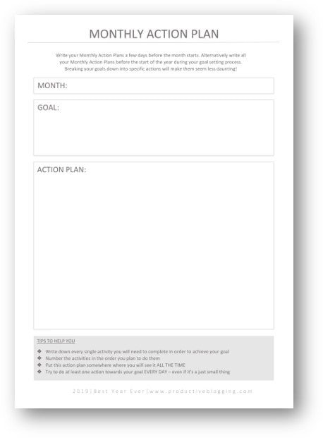 FREE Monthly Action Plan for 2020 printable - part of the 2020 BEST YEAR EVER goal setting worksheets for bloggers. #2020goals #goalsetting #goalsetting2020 #2020planning #2020planner #2020plans #blogginggoals #bloggingdreams #blogplanner #blogplanning #blogplanning2020 #blogplanner2020