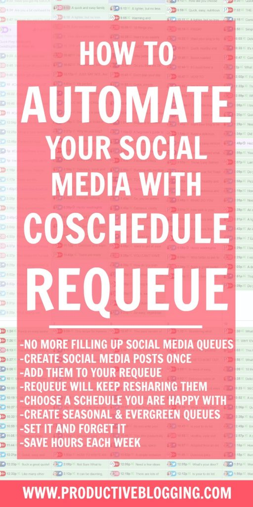 Fed up with spending hours a week scheduling social media? Wish you could just automate social media? Well you can! Here's how you can automate your social media using CoSchedule ReQueue. #coschedule #requeue #setitandforgetit #socialmediamanagement #smm #socialmedia #schedulesocialmedia #automatesocialmedia #growyourblog #bloggrowth #bloggrowthhacks #timemanagement #productivitytips #productivityhacks #productivityhabits #productiveblogging #bloggingtips #blogginghacks #blogsmarter #blogsmarternotharder #BSNH