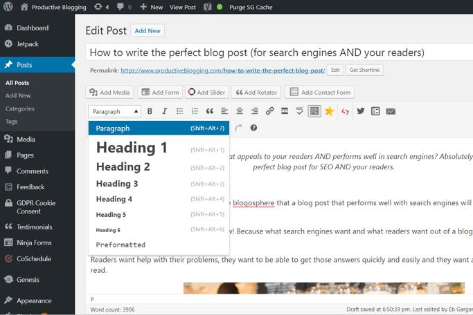H tags in WordPress