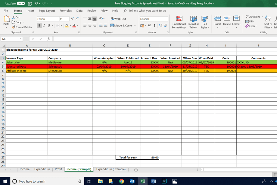 Free Blogging Accounts Spreadsheet - Income