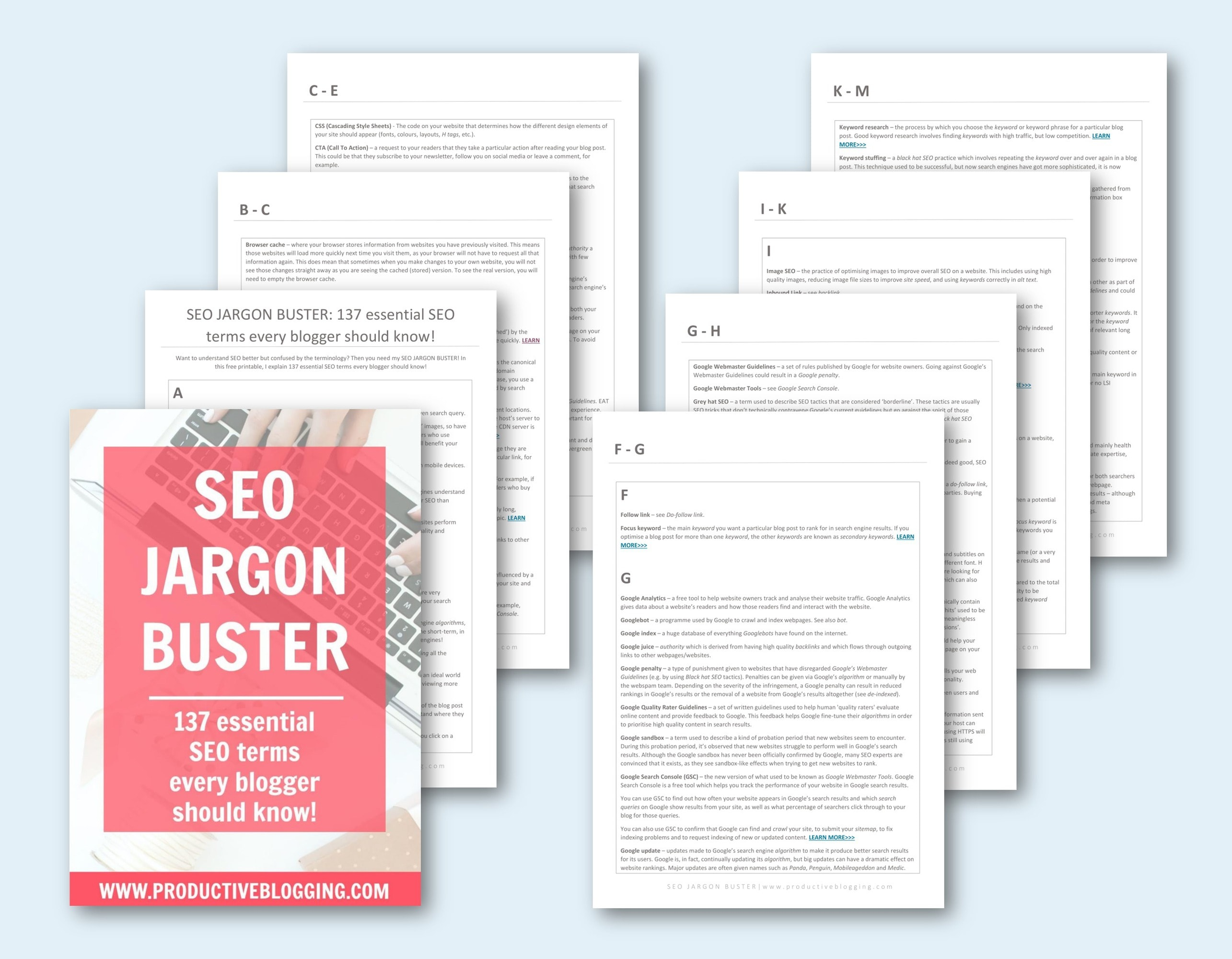 Want to understand SEO better but confused by the terminology? Then you need my SEO JARGON BUSTER! In this free printable, I explain 137 essential SEO terms every blogger should know – everything from Keyword Cannibalisation to Canonicals, H tags to Panda, and a whole lot more! #seojargon #seojargonbuster #essentialseoterms #seoterms #seovocabulary #seoterminology #seodictionary #seocheatsheet #seoglossary #seoatoz #seotips #seohacks #SEO #productiveblogging