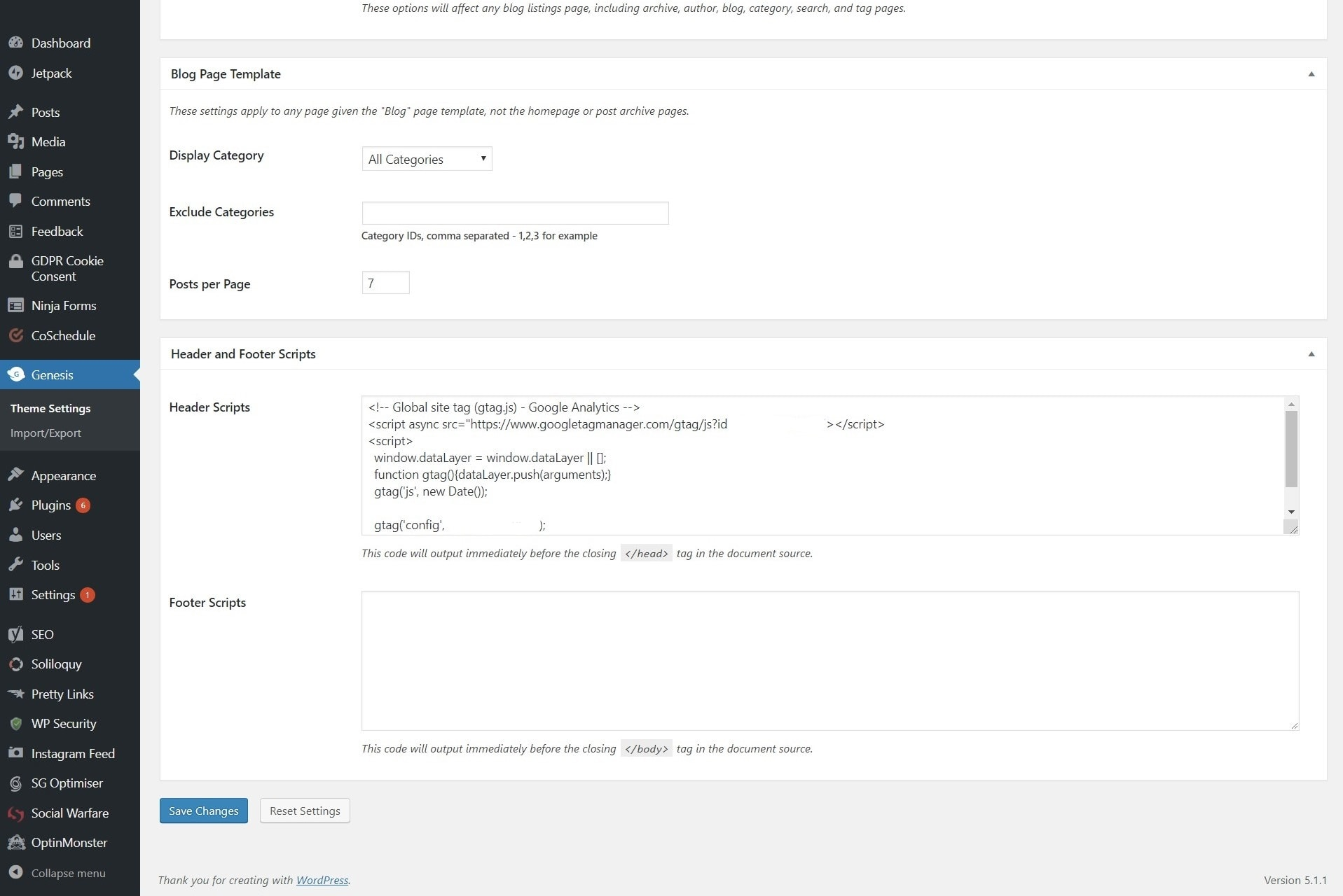 How to add Google Analytics tracking code using Genesis