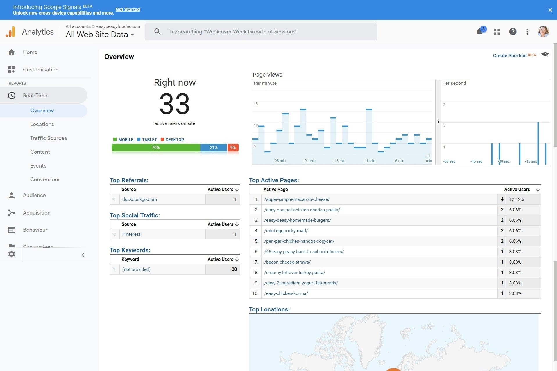 Use Google Analytics Real Time Overview to check you have installed the tracking code correctly