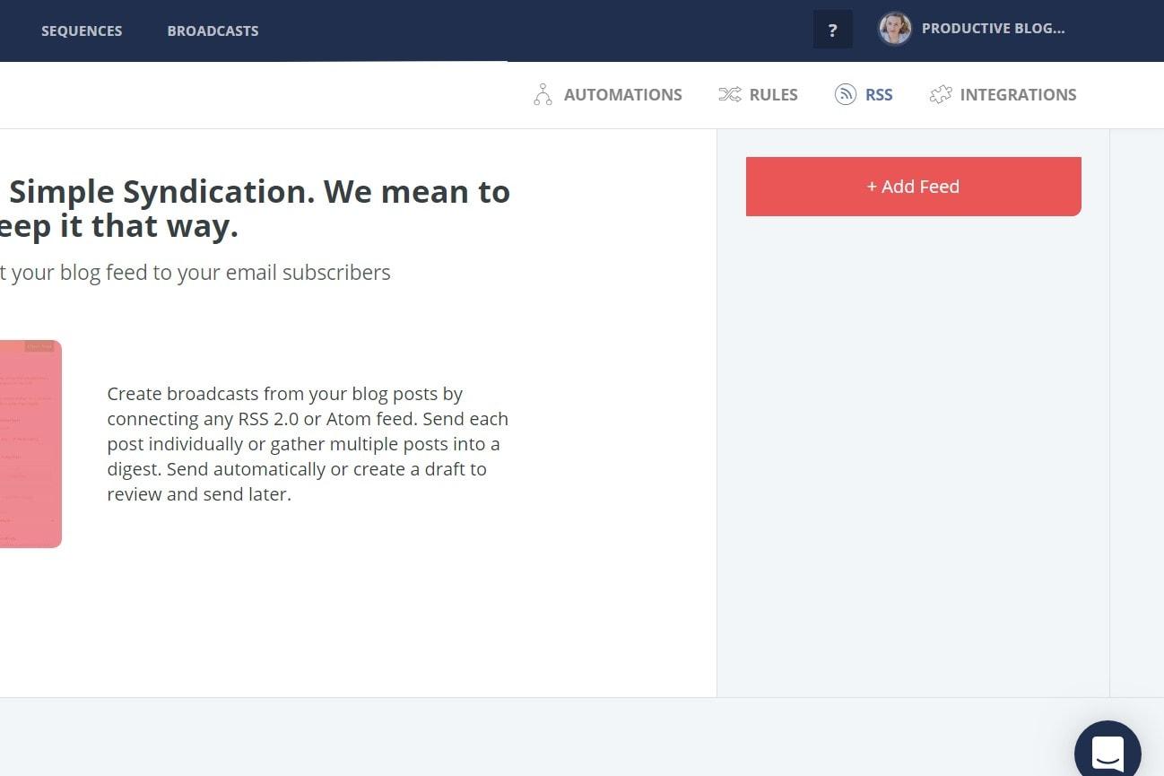 CONVERTKIT >> AUTOMATIONS >> RSS