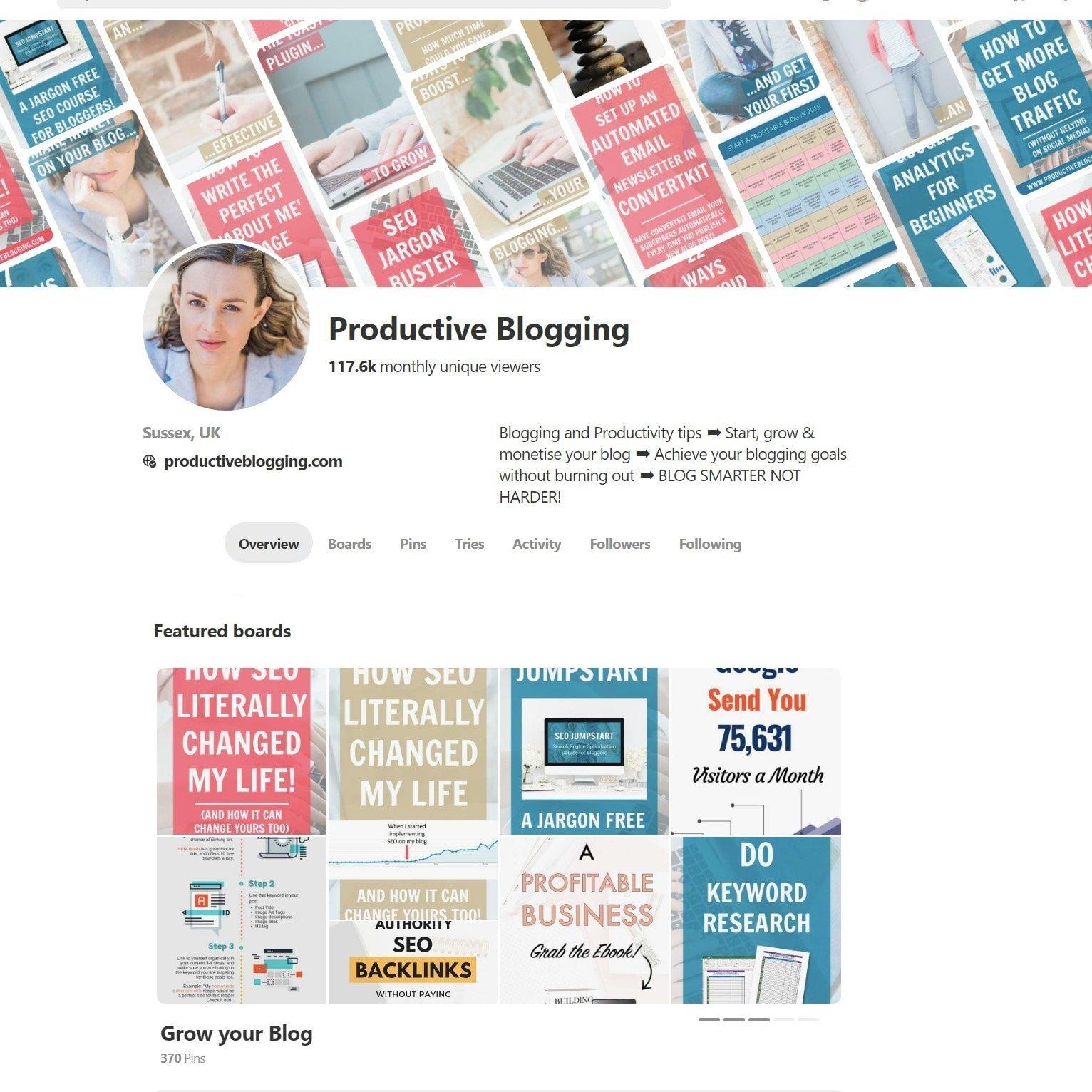 Productive Blogging Pinterest Account