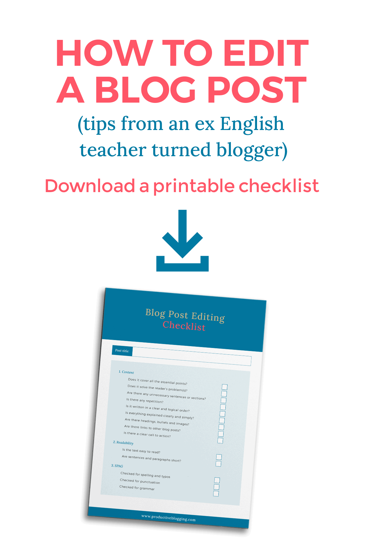 How to edit a blog post - click to grab the checklist!