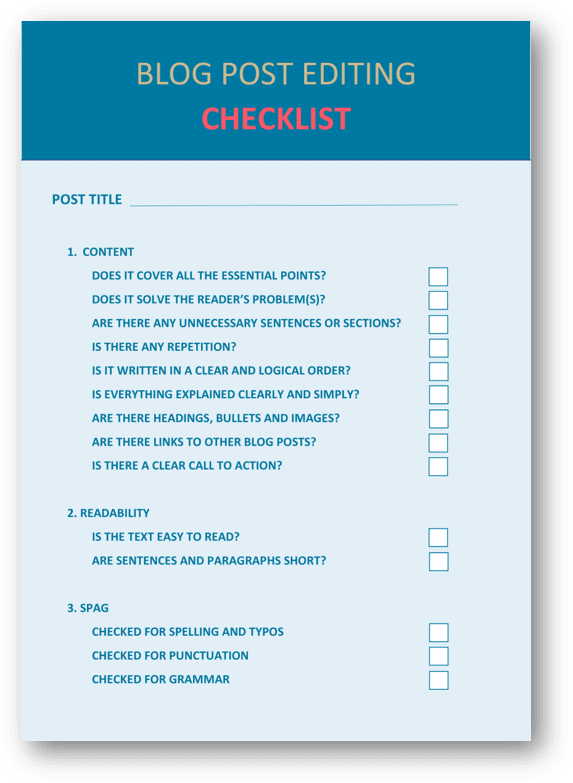 Free Blog Post Editing Checklist Download
