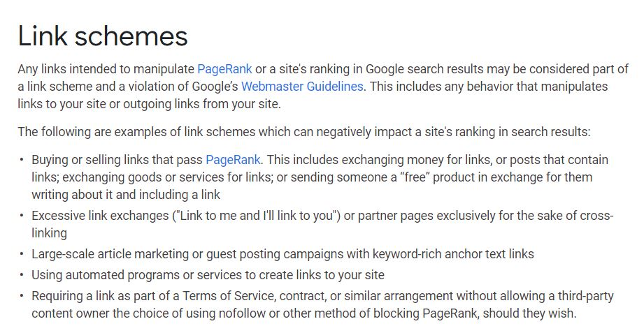 LINK SCHEMES Screengrab from Google Webmaster Guidelines