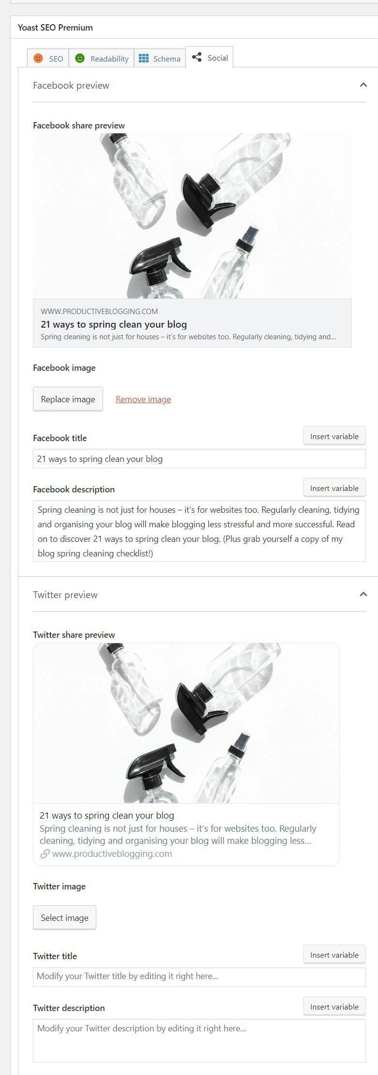 Yoast SEO Metabox Social