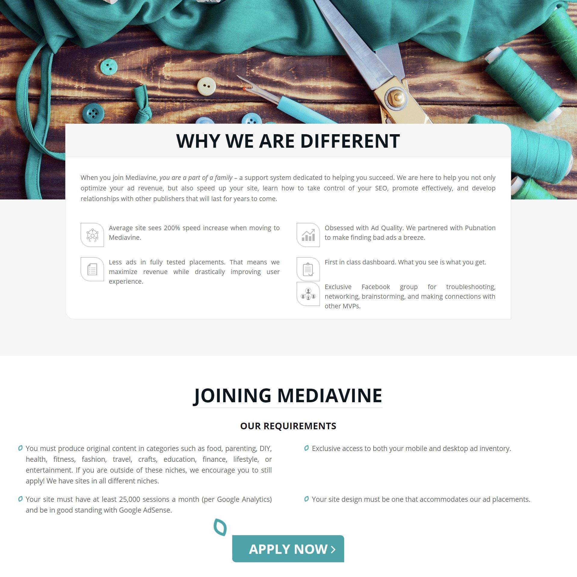 screengrab of Mediavine's application criteria