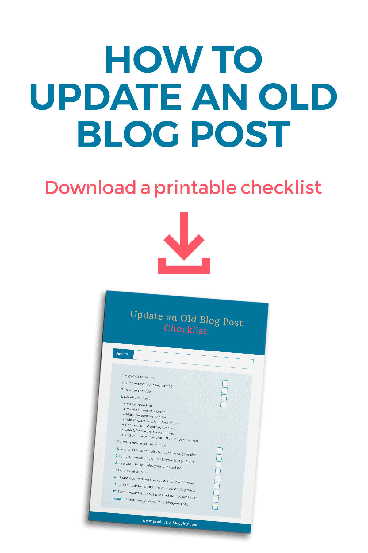 Image of checklist with caption above which reads: How to update an old blog post. Download a printable checklist.
