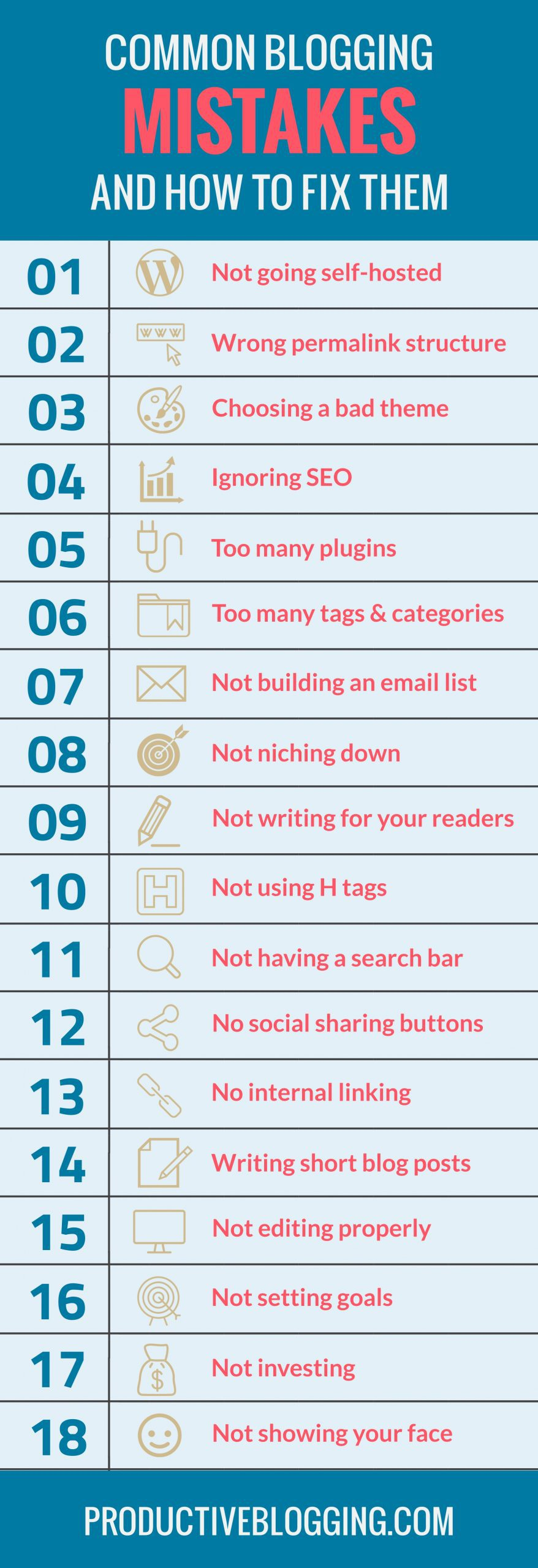 Want your blog to be a success? Make sure you are not making any of these common blogging mistakes! #bloggingmistakes #newblogger #newbloggers #newbloggermistakes #startablog #startaprofitableblog #profitableblogging #bloggingtips #blogginghacks #blogging #bloggers #blog #blogtips #beginnerblogger #newblog #newblogmistakes #productiveblogging #productivebloggingcommunity