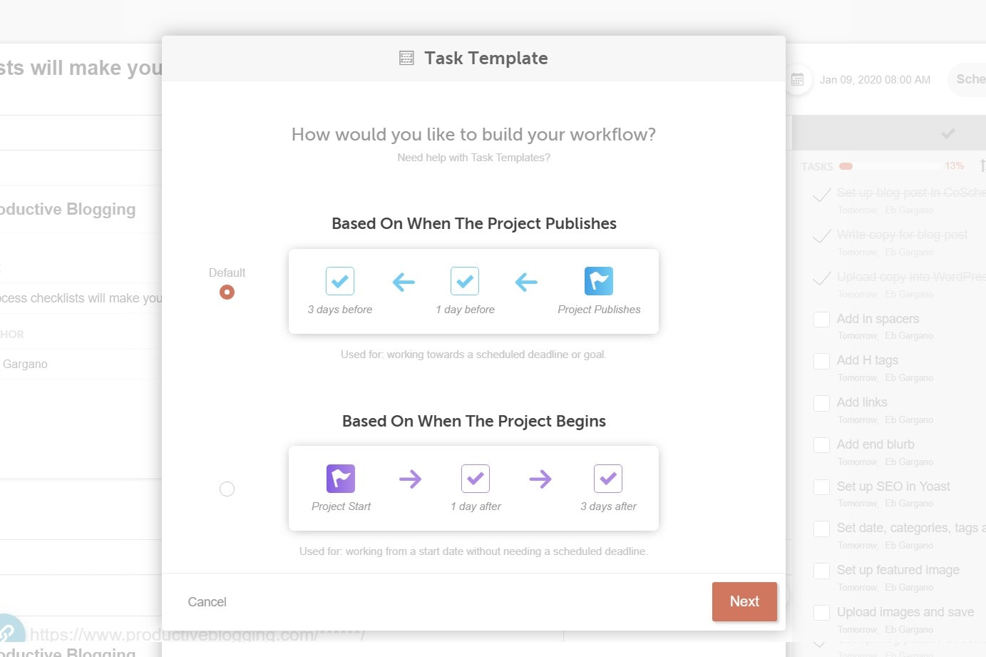 New Task Template in CoSchedule