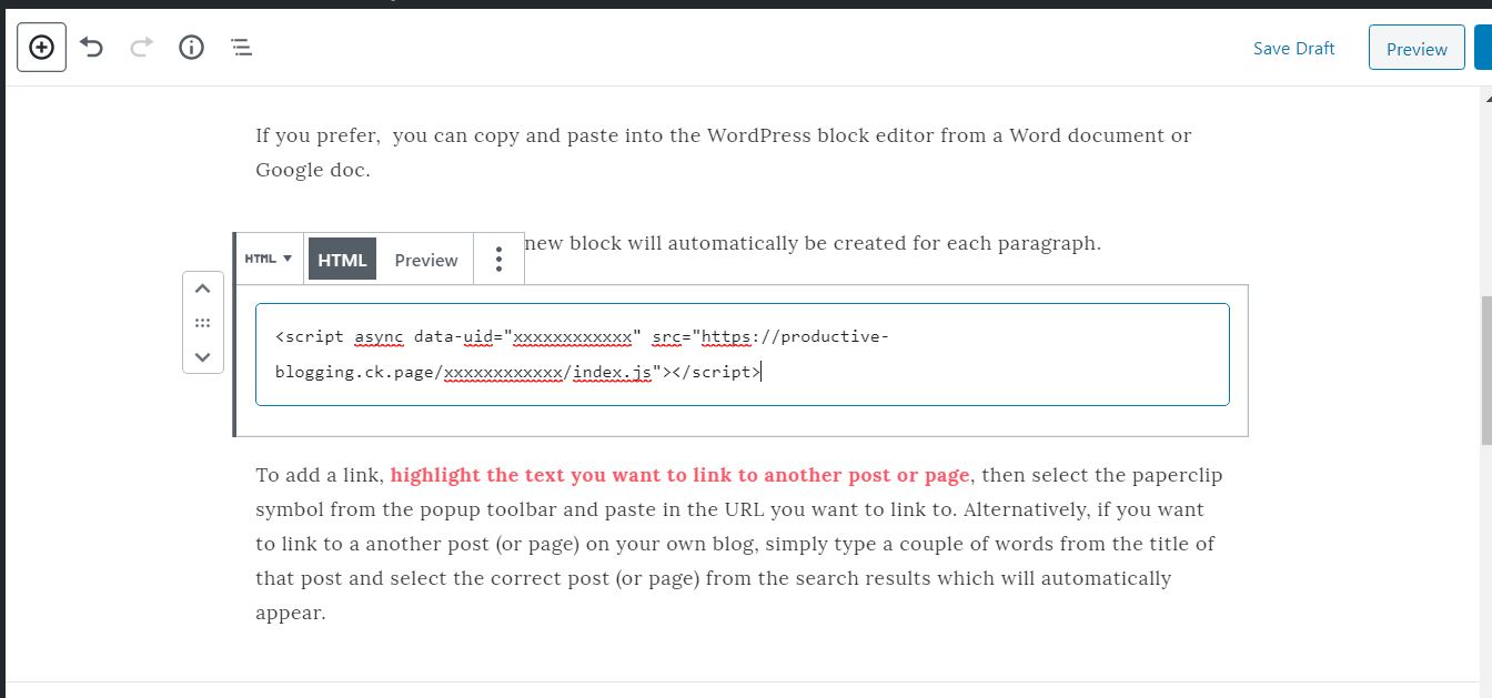 How to add custom code in a blog post using the WordPress block editor