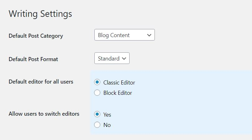 WordPress Classic Editor plugin settings