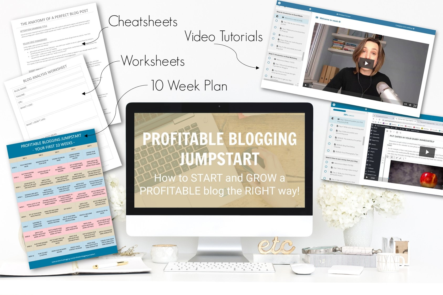 Computer mockup showing Profitable Blogging Jumpstart Course - How to START and GROW a PROFITABLE blog