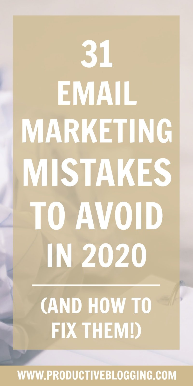 Email marketing is an essential part of blogging… but are you doing it right? Here are 31 Email Marketing Mistakes to avoid in 2020 (and how to fix them!) #emailmarketing #emailmarketingtips #emailmarketingforbloggers #emailmarketingmistakes #emailmarketing2020 #bloggingtips #blogging #bloggers #emaillist #listbuilding #subscribers #convertkit #makemoneyblogging #bloggingformoney #productivity #productivitytips #productivityhacks #productivityhabits #productiveblogging