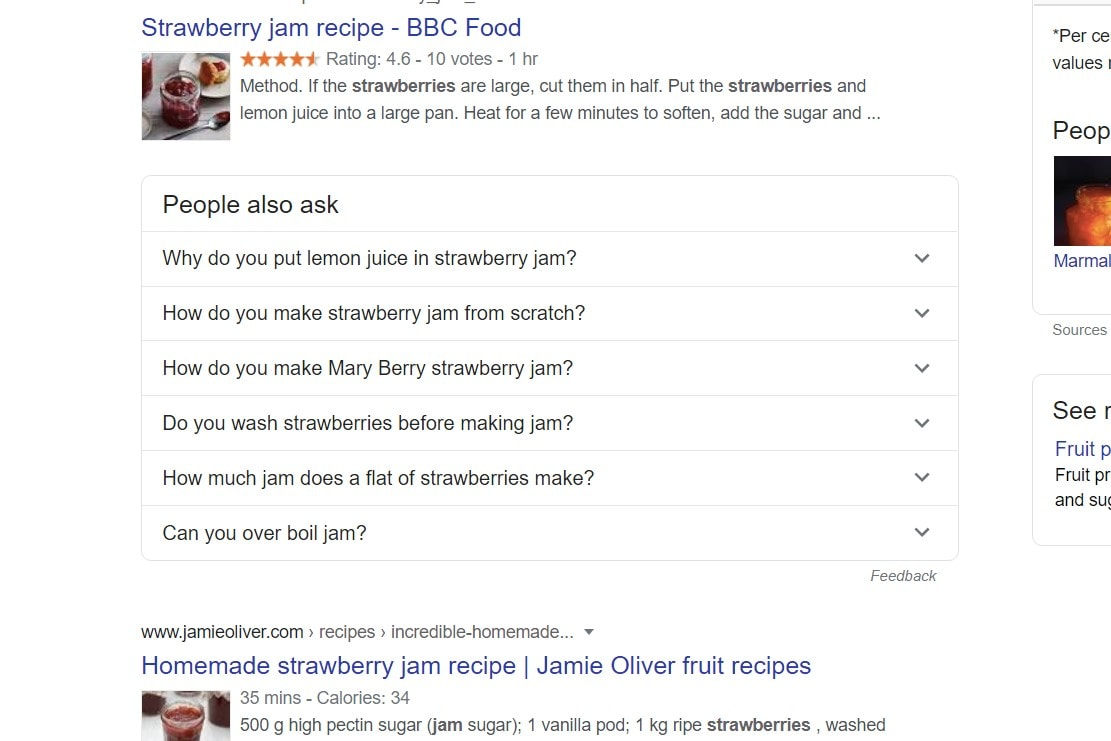 List of questions which feature in Google search for 'strawberry jam'