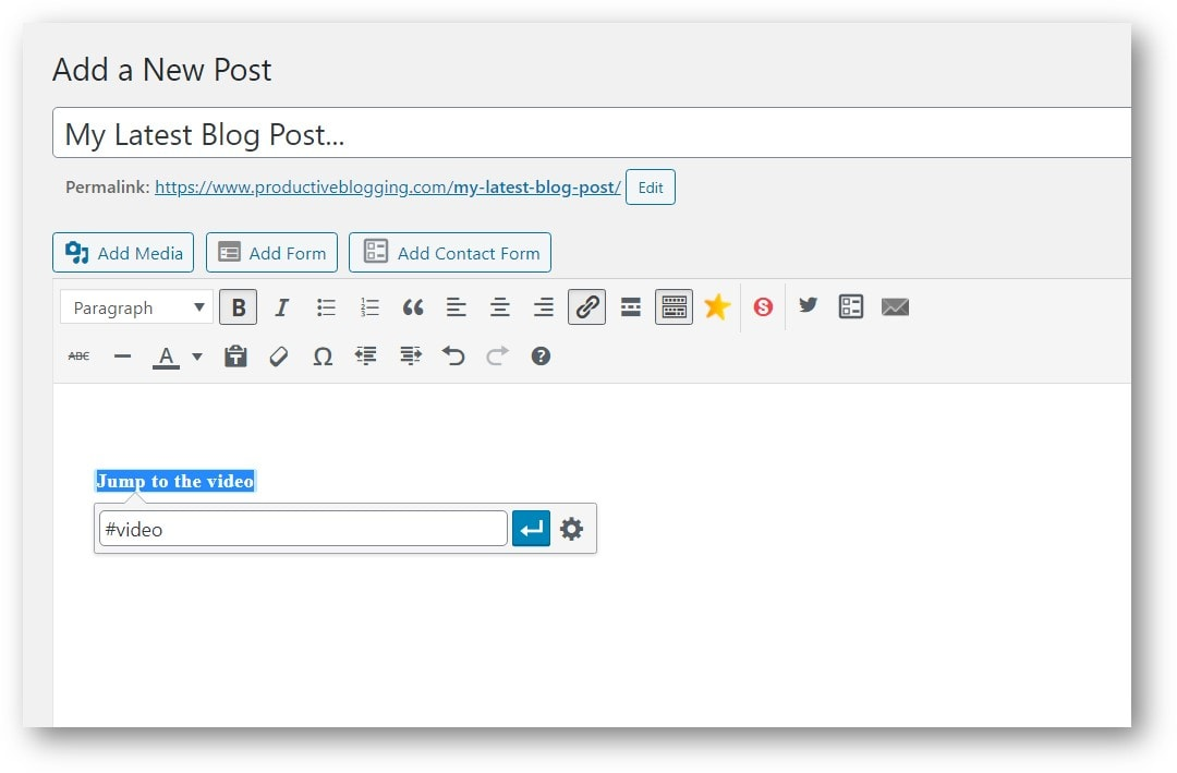 Adding #video as a link to the text 'jump to the video'