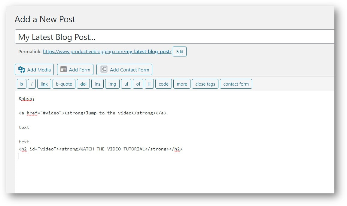 "Adding<h2 id=""video""> to the heading 'Watch the Video Tutorial' in the WordPress Classic Editor Text Editor"