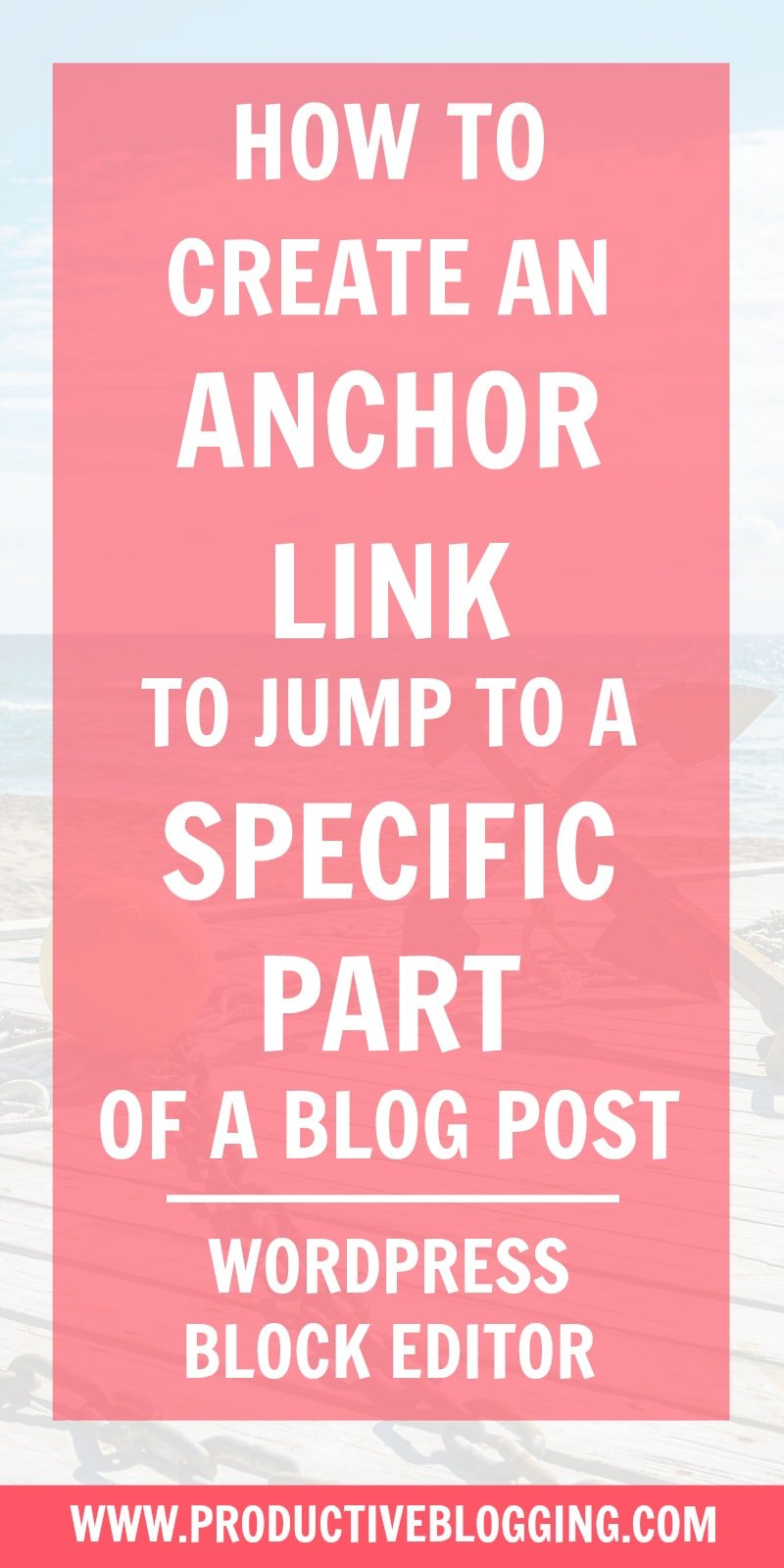 Want to create a link in a blog post that will allow your reader to 'jump' to a specific part of your blog post? It's really easy to do with the WordPress Block Editor. Here's how… #anchorlink #jumplink #linkjump #wordpress #wordpressblockeditor #gutenberg #wordpressgutenberg #blogpostindex #blogpost #bloggingbasics #blogging #bloggers #bloggingtips #productiveblogging #blogsmarternotharder