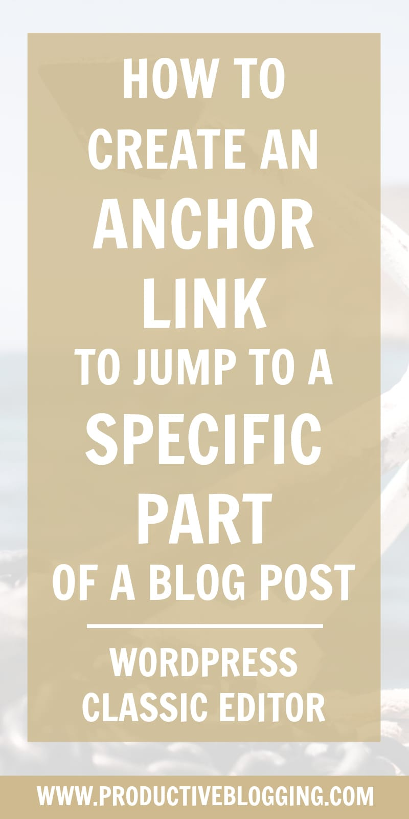 Want to create a link in a blog post that will allow your reader to 'jump' to a specific part of your blog post? It's really easy to do with the WordPress Classic Editor. Here's how… #anchorlink #jumplink #linkjump #wordpress #wordpressclassiceditor #classiceditorplugin #blogpostindex #blogpost #bloggingbasics #blogging #bloggers #bloggingtips #productiveblogging #blogsmarternotharder