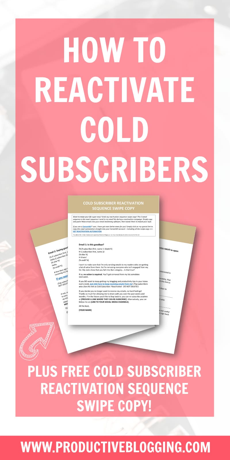 Instead of simply deleting cold subscribers, why not try and reactivate them? Here's my step by step guide to running a reactivation campaign for your cold subscribers. #reactivatecoldsubscribers #coldsubscriberreactivation #reactivationsequence #coldsubscribers #listcleaning #emailmarketing #emaillist #emailmarketingtips #listbuilding #subscribers #convertkit #blogging #bloggers #bloggingtips #productiveblogging #blogsmarter #blogsmarternotharder