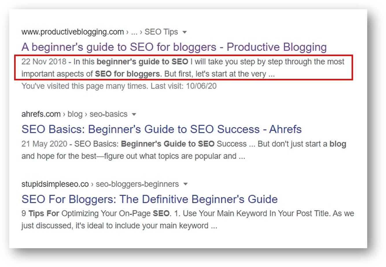 Example of how a meta description appears in Google search results as a snippet of text underneath the title