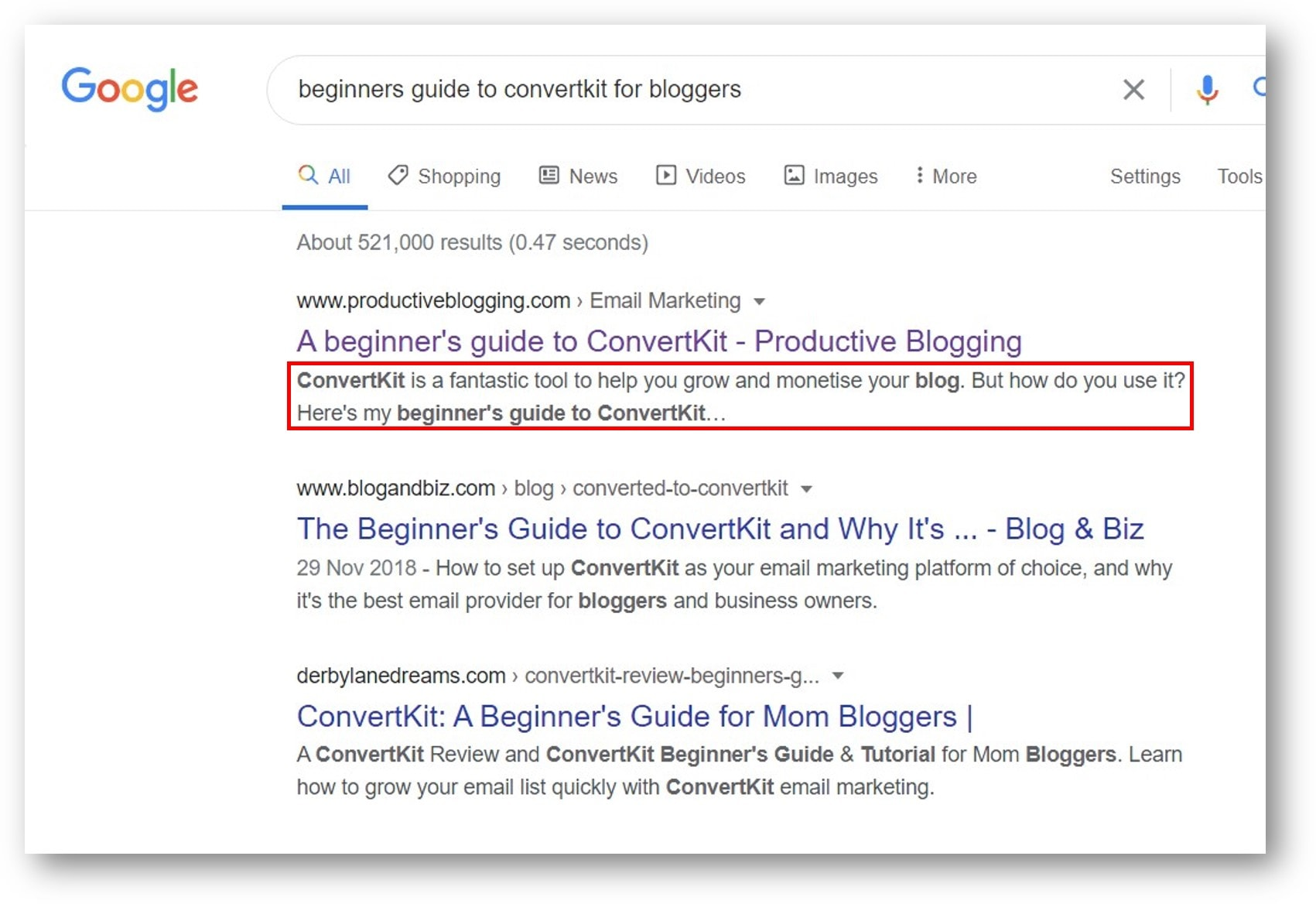 Example of a meta description which is compelling, it reads 'ConvertKit is a fantastic tool to help you grow and monetise your blog. But how do you use it? Here's my beginner's guide to ConvertKit…'