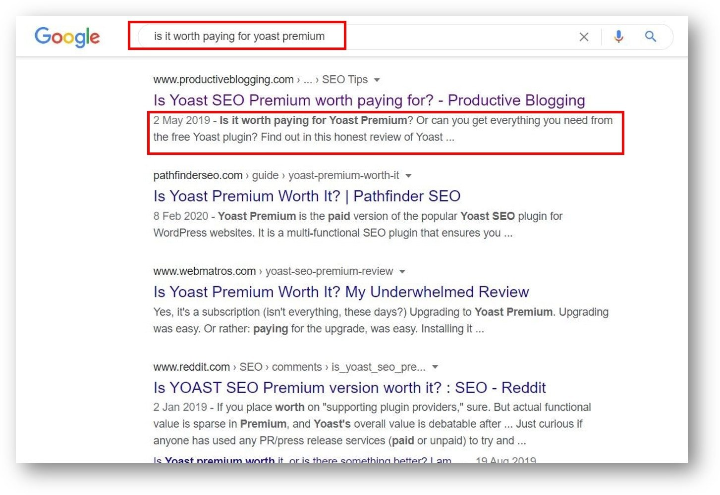 Example of a meta description which includes the exact same phrase as the phrase searched for on Google.