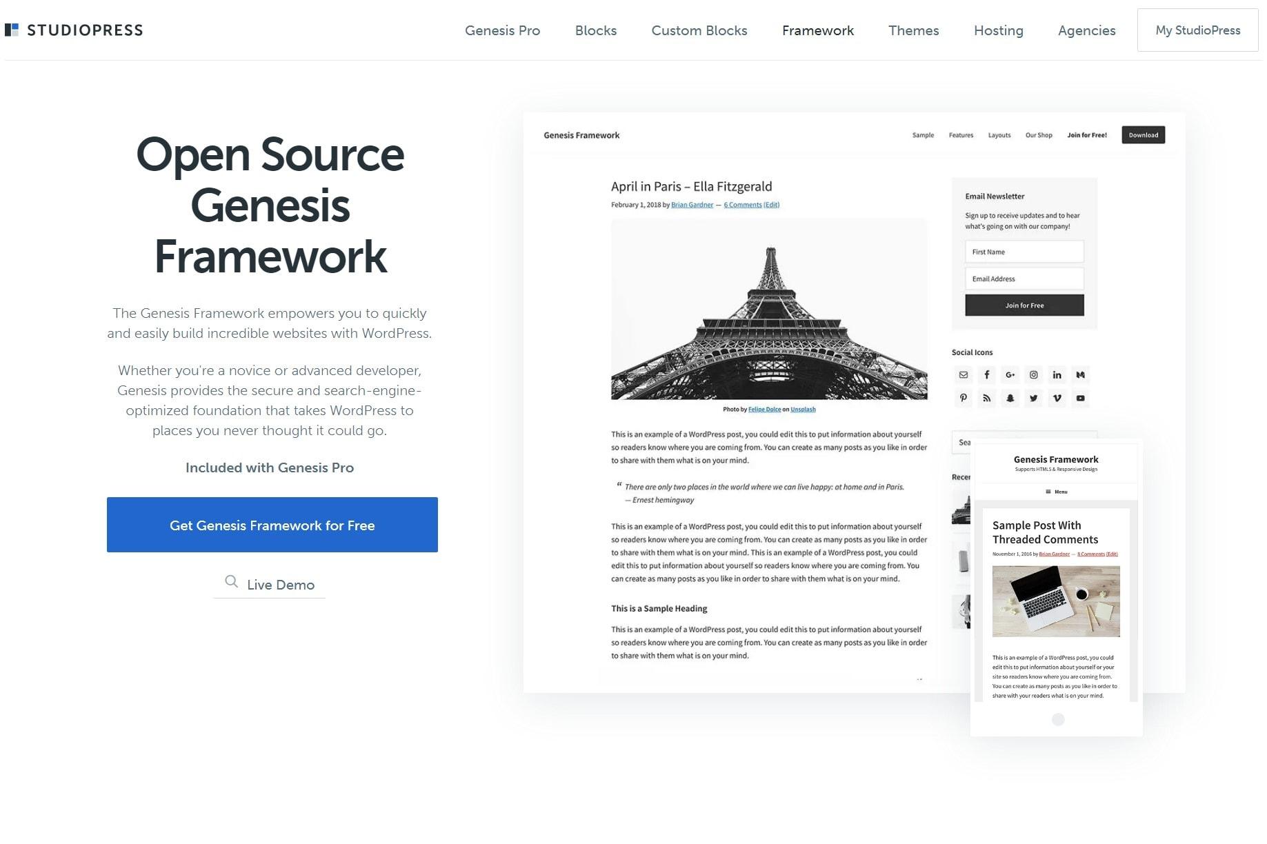 Screengrab of the Genesis Framework