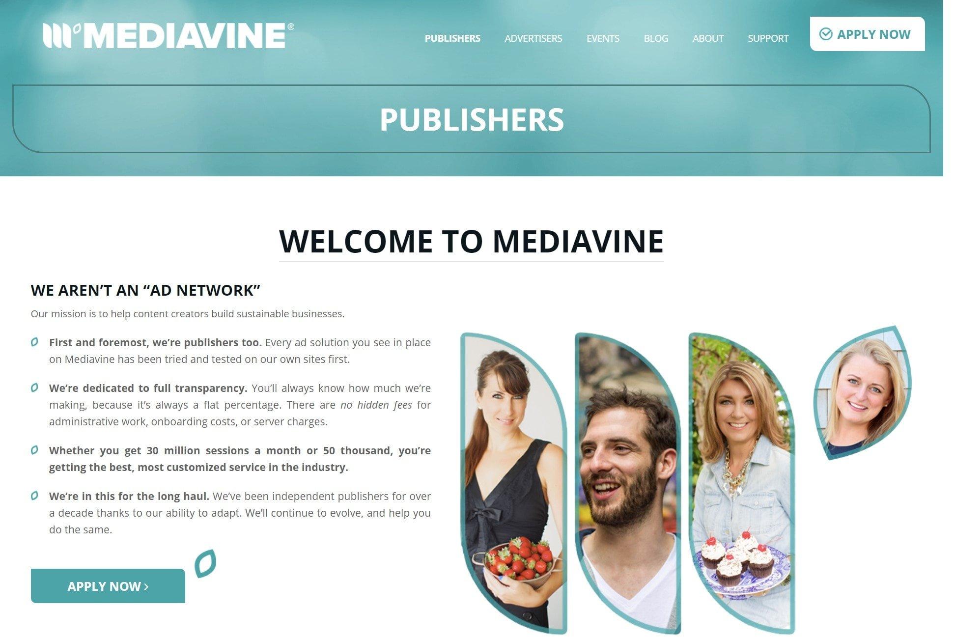 Screengrab from Mediavine's website: 'Welcome to Mediavine' page