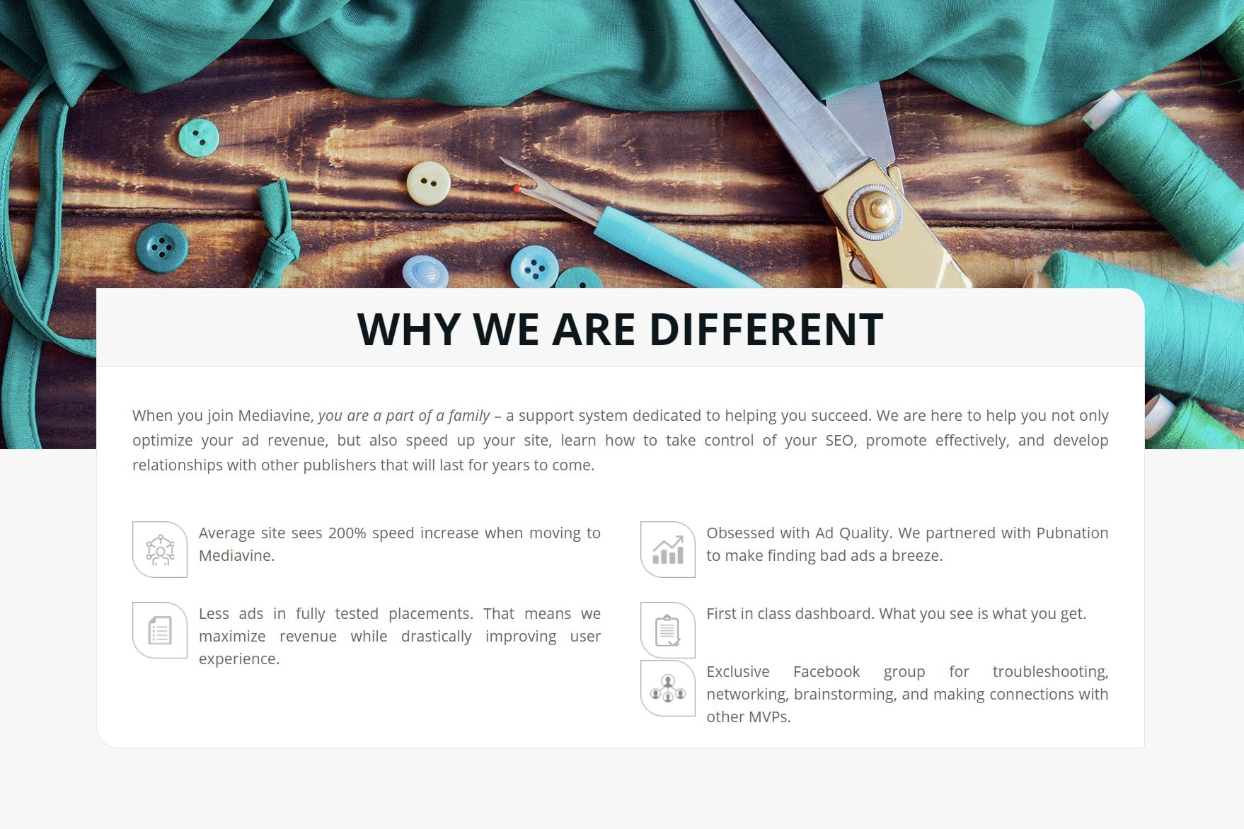 Screengrab from Mediavine 'Welcome to Mediavine' page, 'Why We are Different' section
