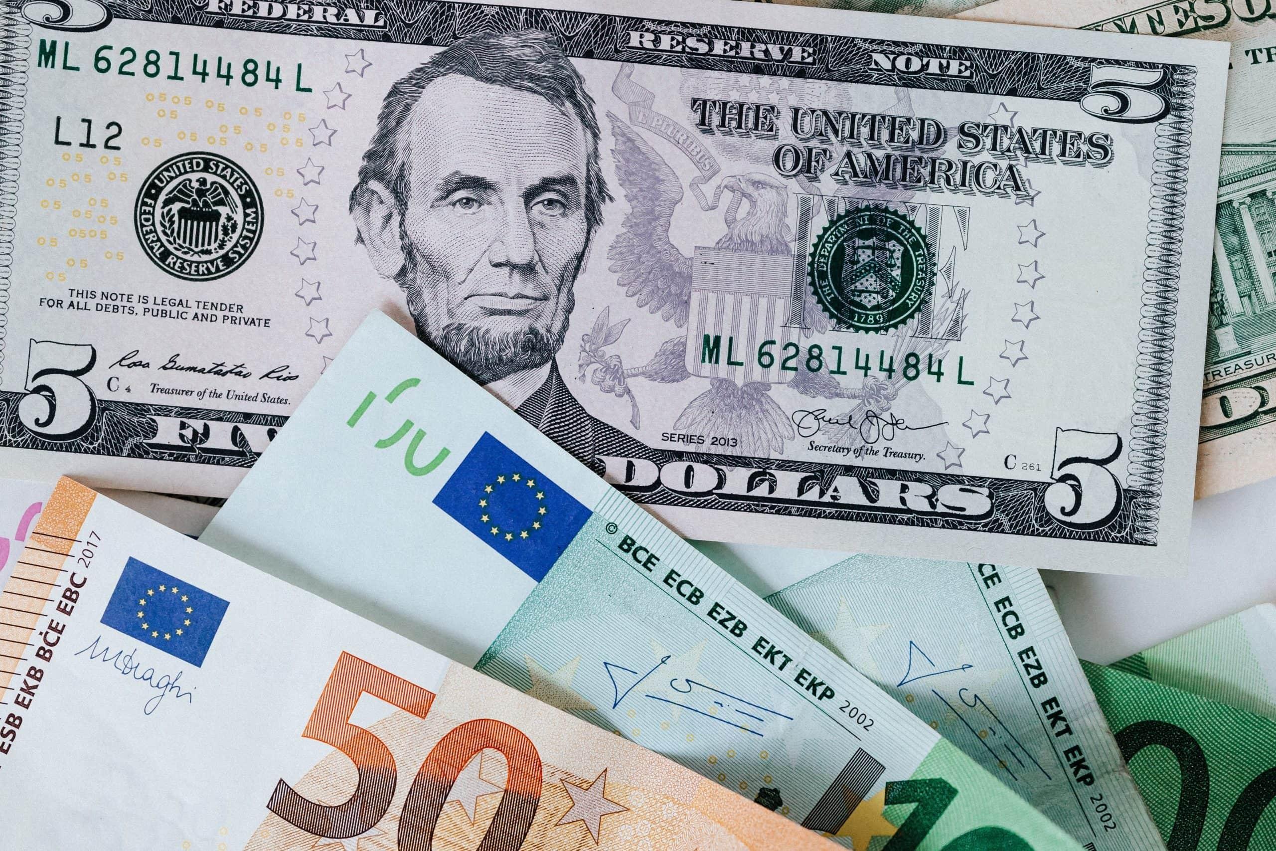 Banknotes: mix of dollars and euros