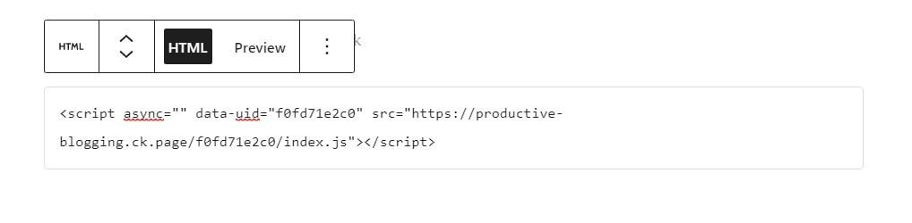 Example of ConvertKit embed code in a Custom HTML block