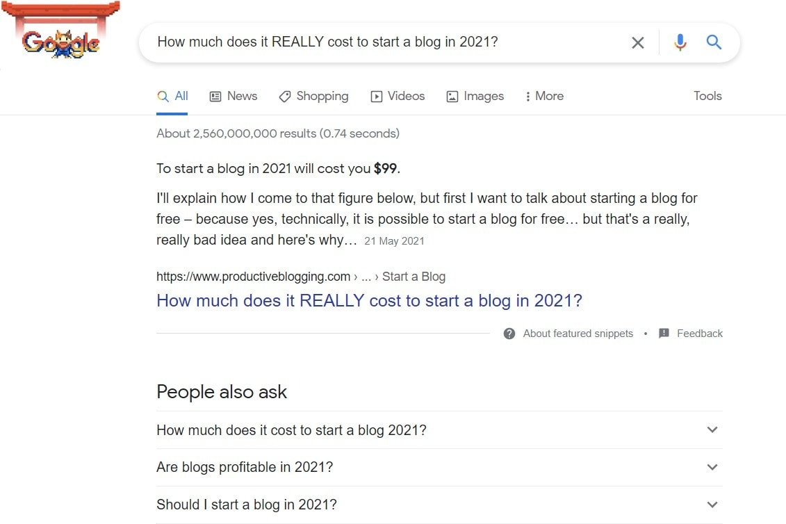 Google Featured Snippet for 'How much does it cost to start a blog in 2021'