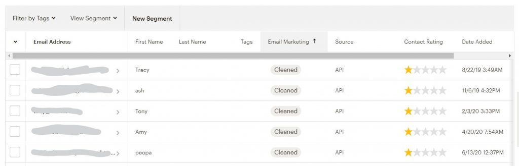 Example of cleaned contacts in Mailchimp
