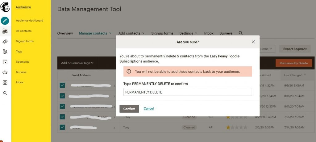 Select Permanently delete and type PERMANENTLY DELETE into the pop up window, then click Confirm.