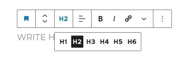 Selecting from the different H tag options in the WordPress Block Editor
