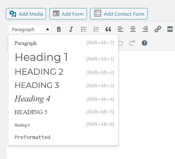 Selecting from the different H tag options in the WordPress Classic Editor