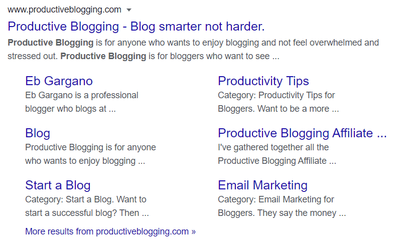 Screengrab of Google sitelinks for Productive Blogging