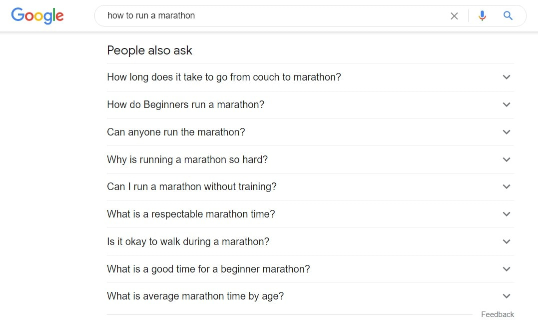 People also ask results for 'How to run a marathon'